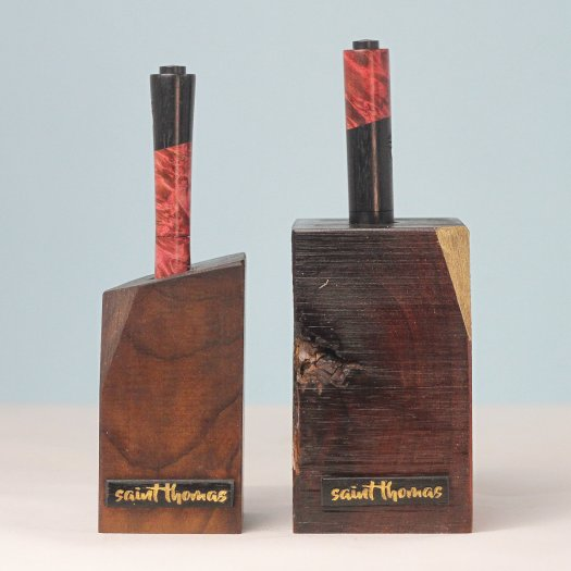 the SET - DUKE + DUCHESS + *DOUBLE HOLDER - Maple Burl w/ Red/Pink Stabilizer SOLD OUT 00029