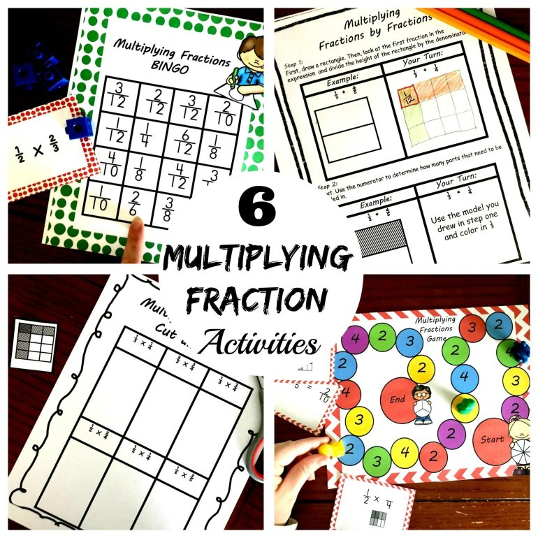 6 Multiplying Fractions by Fractions Activities 00002