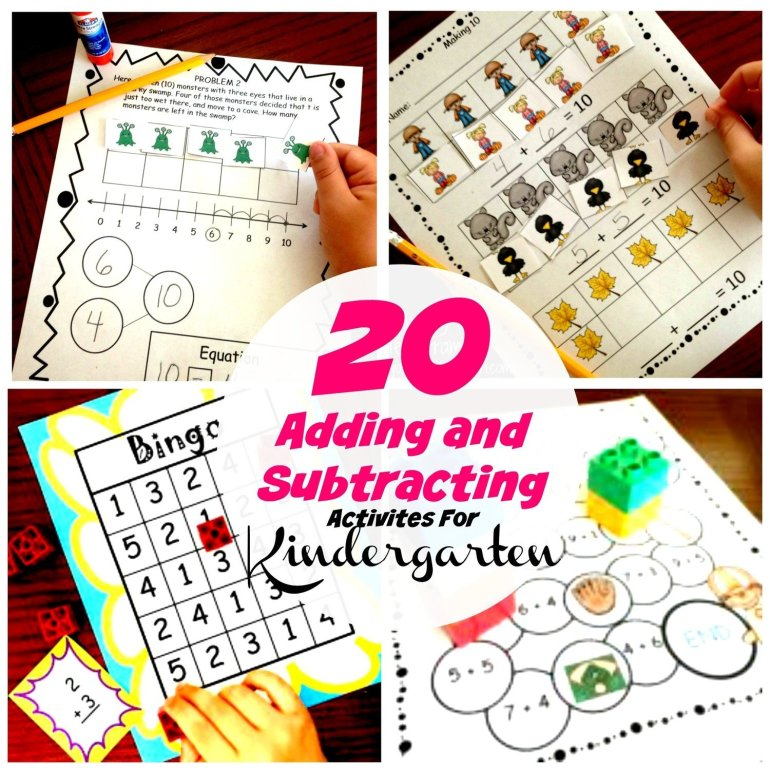 20 Adding and Subtracting Activities For Kindergarteners