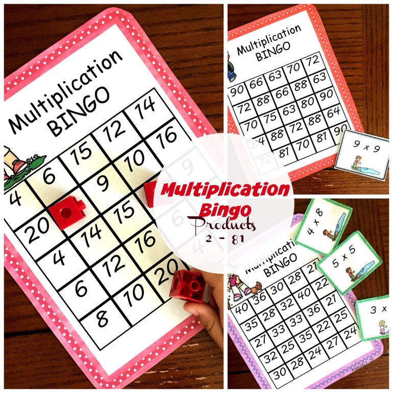 Multiplication BINGO - A Fun Game to Practice Multiplication Facts 00035
