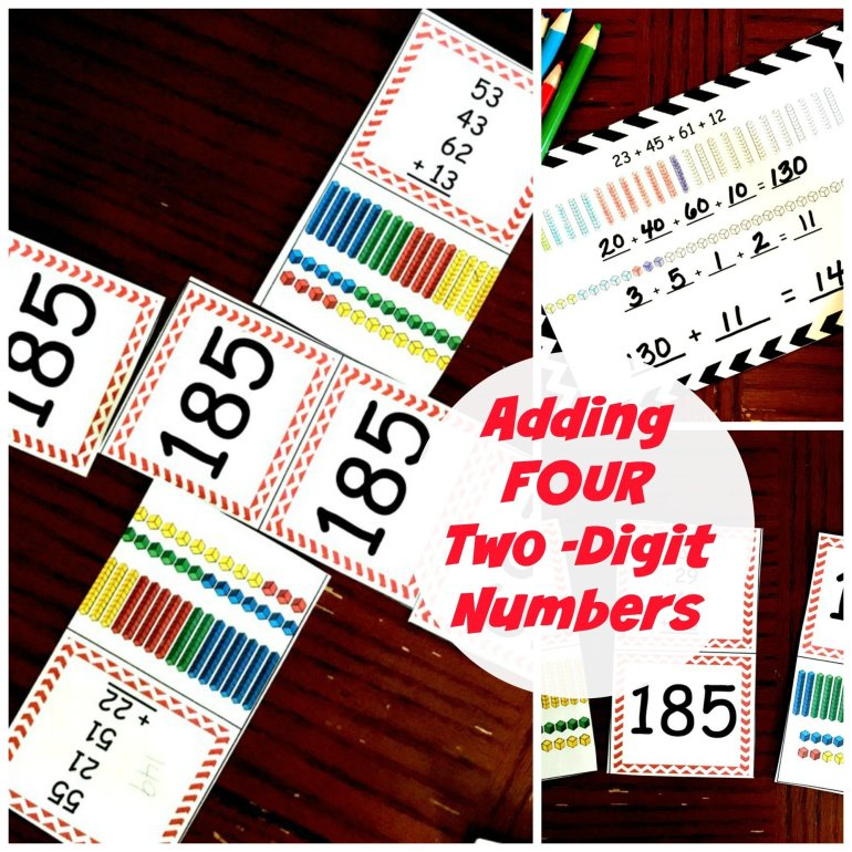 Adding 4 Two-Digit Numbers- Task Cards and Game 00042