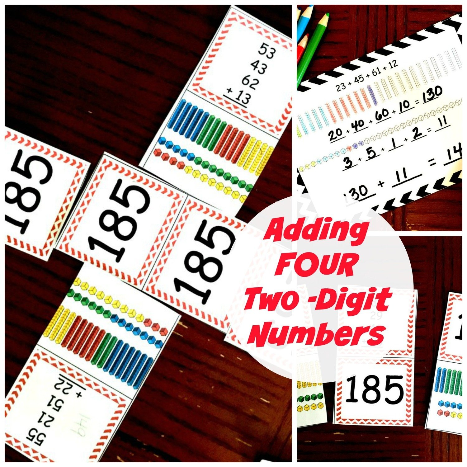 Adding 4 Two-Digit Numbers- Task Cards and Game