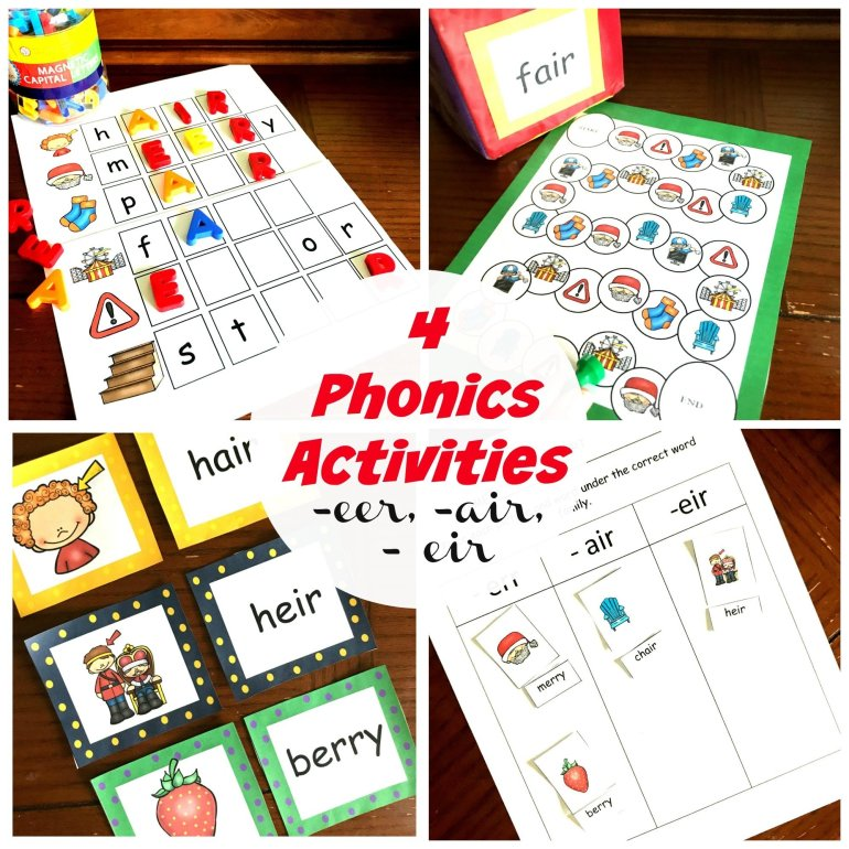 4 Activities for -eer, -eir, and -air Phonics 00043