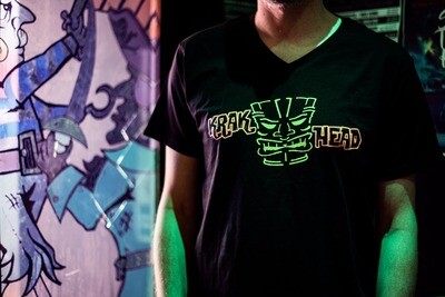 Krakatoa UV Reactive Ink Tiki Dive Bar Mens T-Shirt / Tee - Krak Head (with Tiki Head logo)