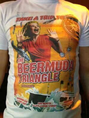 Moorings Bar Retro Mens T-Shirt / Tee - Take A Trip To... The Beermuda Triangle