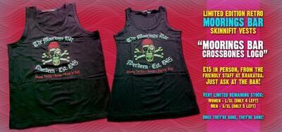 Moorings Bar Retro Mens Vest - Skull And Crossbones Logo