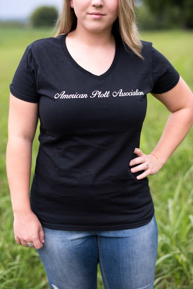 Women's Black V Neck T 00024