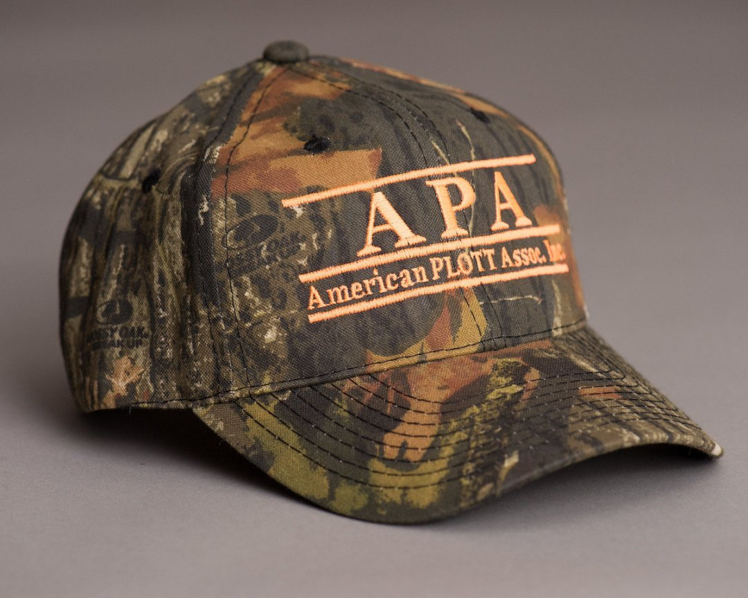 full camo hat with orange print