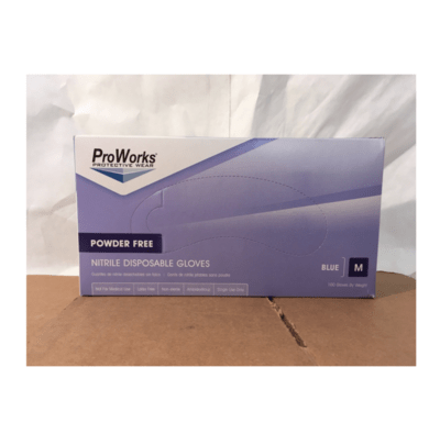 Surgical Gloves Medium Blue Nitrile Powder Free 100's Proworks