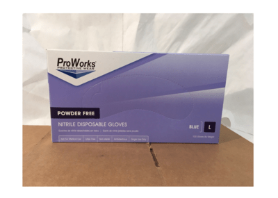 Surgical Gloves Large Blue Nitrile Powder Free 100's Proworks
