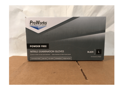 Surgical Gloves Large  Black Nitrile Powder Free 100's Proworks
