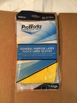 Gloves Latex Yellow XL Flock Llned Gloves General Purpose - 1 Pair