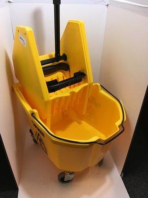 Mop Bucket & Wringer 26 qt Yellow Downpress