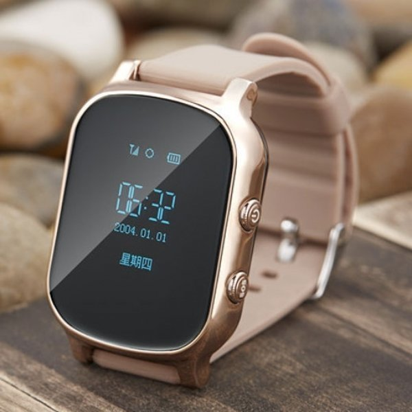 Kid Safety GPS Tracker Smart Locating Watch Golden BC82029471TM