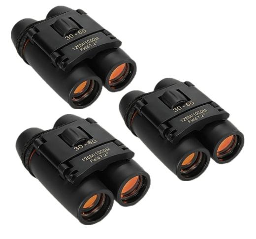 3pcs 30 x 60 126X 1000m High Power Folding Binoculars Telescope - Black TMBD106454