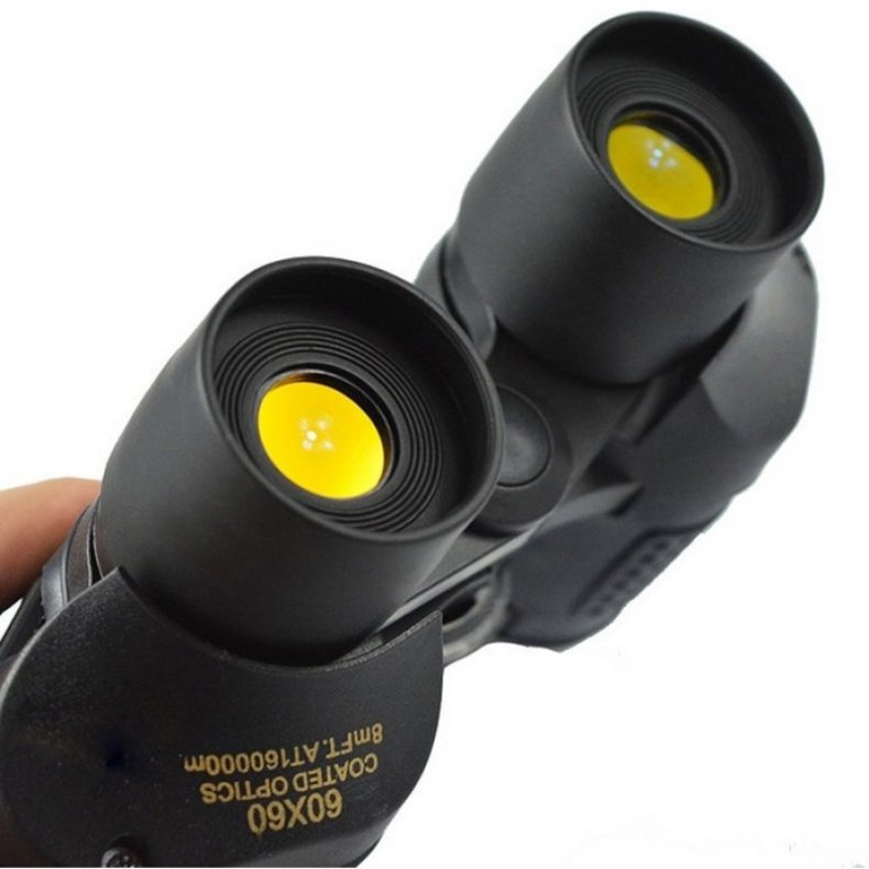 60X60 HD 3000M Observation Optical Green Film Binoculars - Black