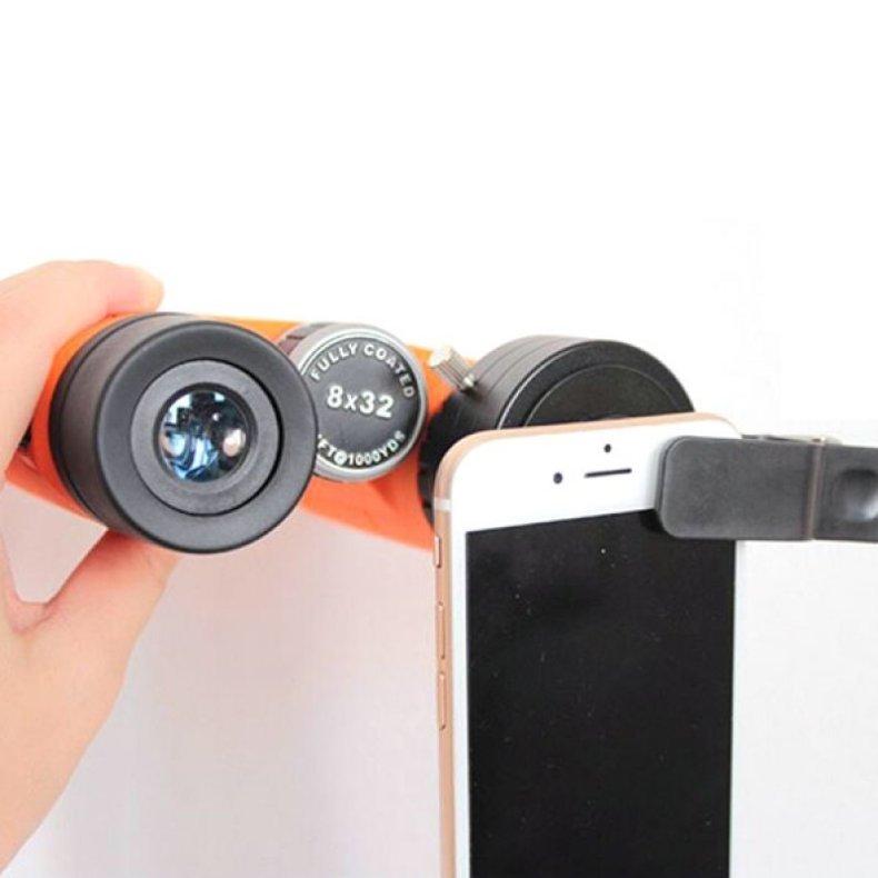 48.5mm Cellphone Telescope Adapter Lens Monocular Binoculars Mount w/ Clip Dia