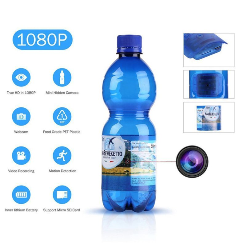 1080P HD Hidden Water Bottle Spy Camera Motion Detection Camcorder