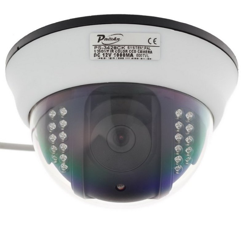 "1/3"" CMOS 600TVL Surveillance Dome Camera with 22-IR LED White + Black Paisan PS-3428CK TM86TT2474"