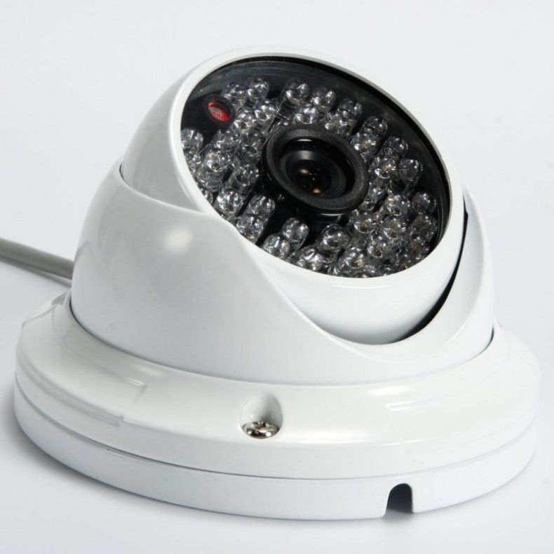 "1/4"" CMOS 48LED 1000TVL NTSC 3.6mm Large Metal Round Plate Surveillance Dome Camera White"