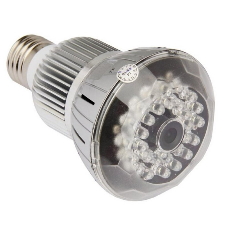 1080P 360°Panoramic WIFI Light Bulb Camera with IR Night Vision Silver TM86030243