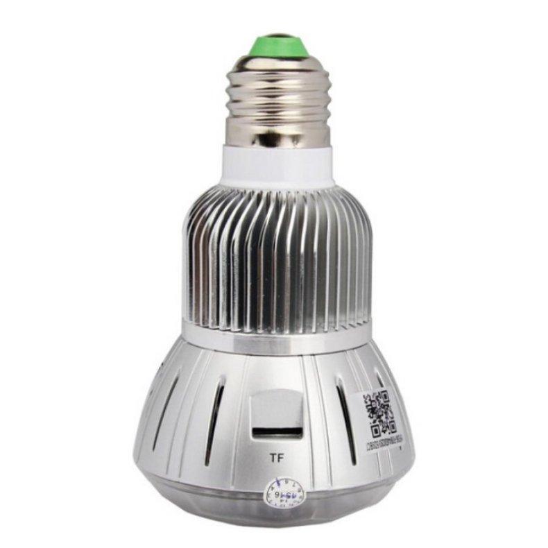 1080P 360°Panoramic WIFI Light Bulb Camera with IR Night Vision Silver