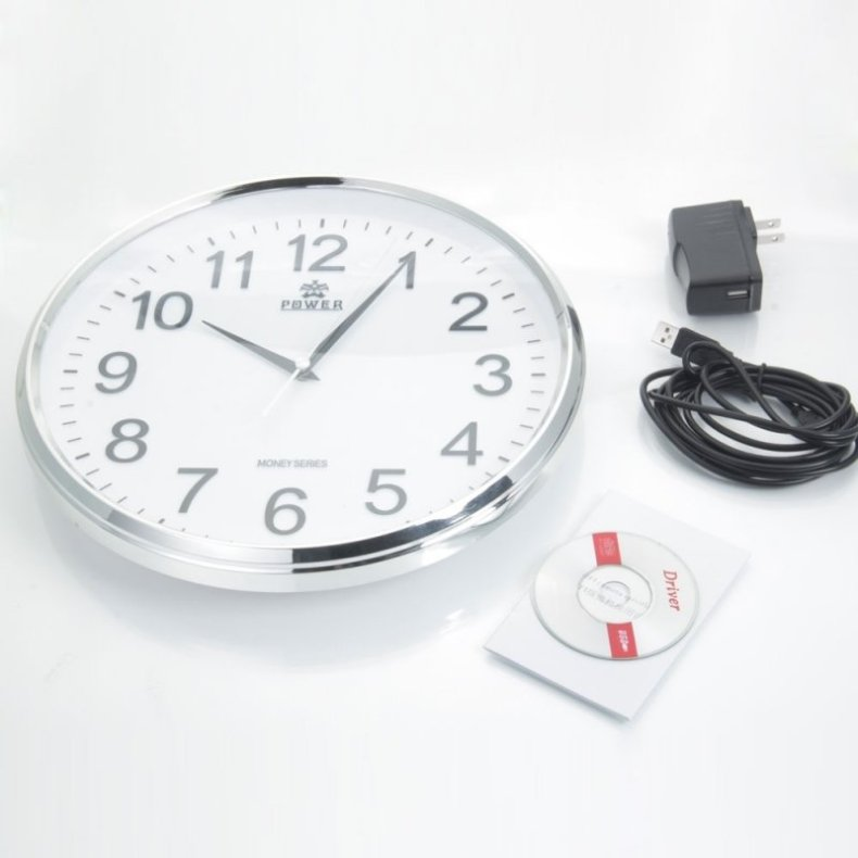 HD WiFi Wall Clock Camera DVR with Motion Detection White