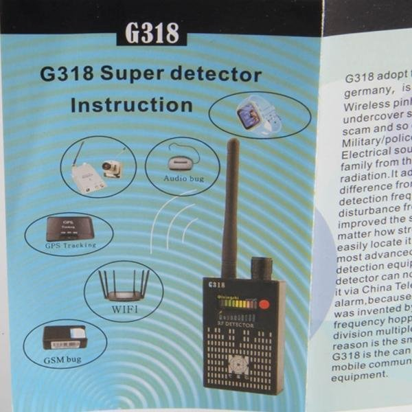 G318 RF Signal Detector CDMA Signal Detector High Sensitivity Detection Hiding Camera Lens / GPS Locator(US plug)