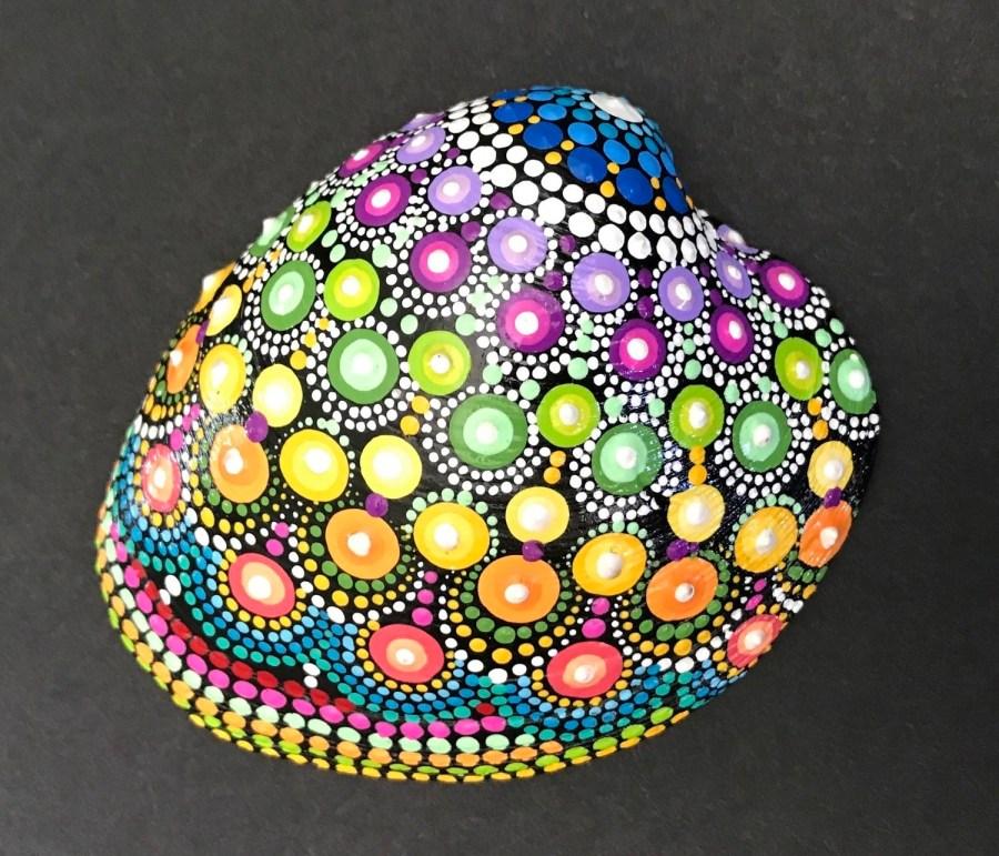 Rainbow Sea Shell Dot Mandala Art