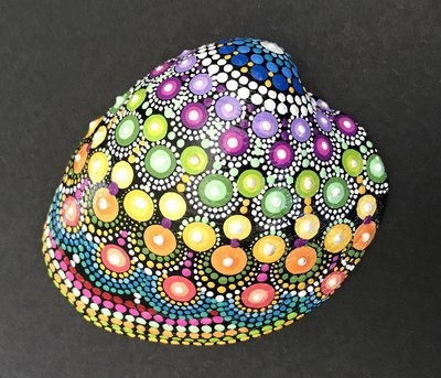 Rainbow Sea Shell Dot Mandala Art