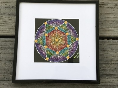 Sacred geometry dot mandala painting home decor wall hanging framed