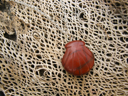 Symbolic Red Jasper scallop shell on sterling silver chain