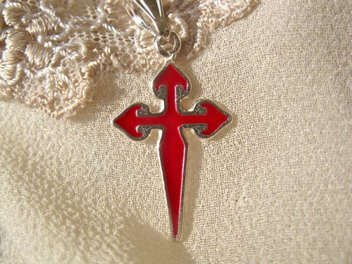 Sterling silver cross of St James with striking red enamel decoration