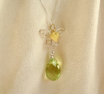 Butterfly necklace ~ Brimstone, silver