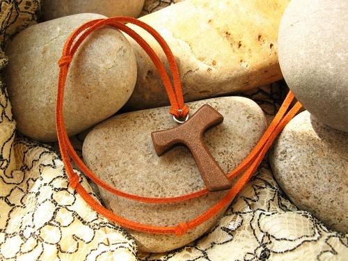 The eye-catching Tau cross symbolic of pilgrimage. Shown here in DARK wood