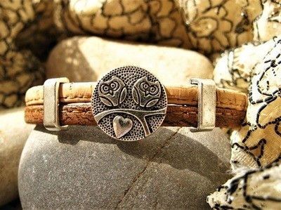 Guardian owl bracelet ~ two-tone cork