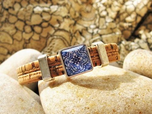 Camino de Santiago bracelet - mosaic tile + cork MBC01900