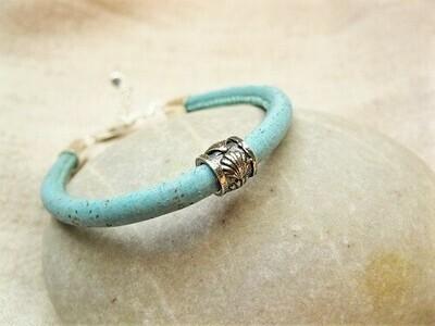 Camino de Santiago bracelet - 925 silver scallop shell bead + aqua cork