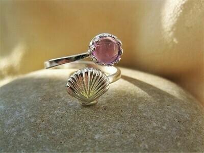 Camino de Santiago ring ~ scallop shell, silver + amethyst