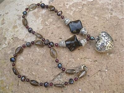 Smokey Quartz, Pearl + Garnet necklace with Heart