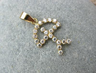 Indalo pendant ~ classic, 18ct gold + zirconite