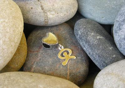 Heart charm bead + dancing Indalo ~ European-style, silver