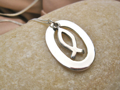 Christian fish necklace ~ oval, silver
