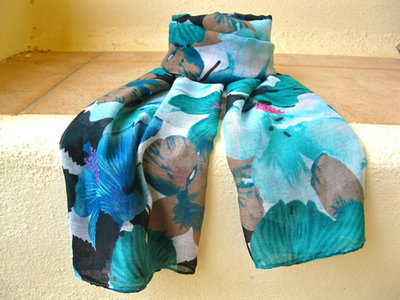 Lovely lily flower scarf ~ jade & blue