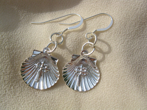 Scallop shell earrings with St James cross for safekeeping 00710