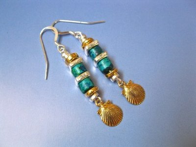 Camino de Santiago concha shell earrings  ~ golden