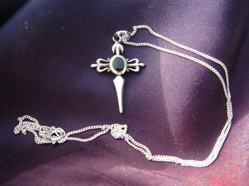 Cross of St James necklace ~ sterling silver and jet 00731