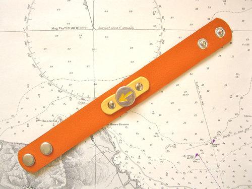 Orange & yellow colour leather cuff bracelet