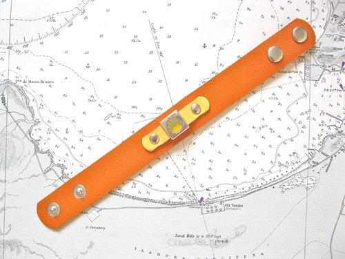 Orange & yellow leather cuff bracelet