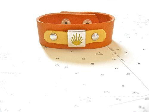 Orange leather bracelet with yellow leather trim